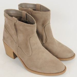 Qupid- Tan Suede Leather Ankle Boots- Size 9